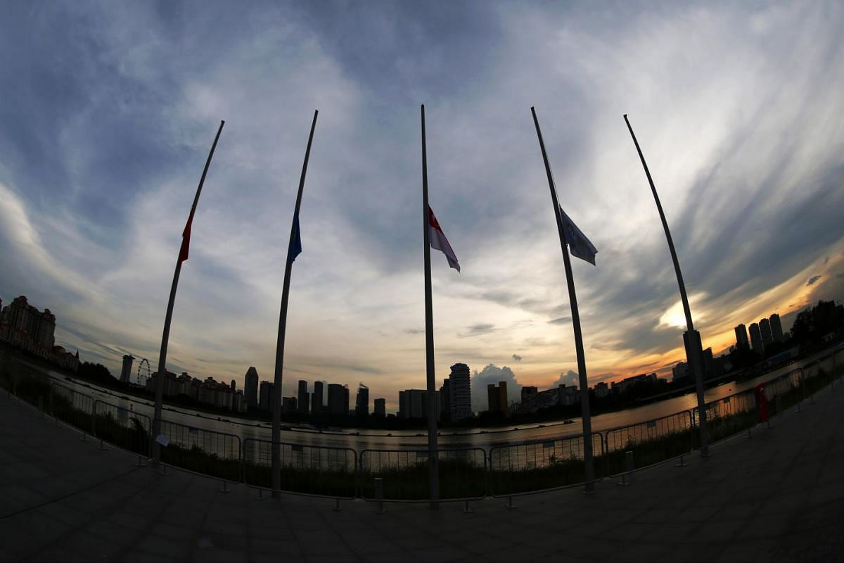 Flags at half-mast on June 8, 2015, as Singapore marked a day of national remembrance for the victims of the Sabah earthquake.
