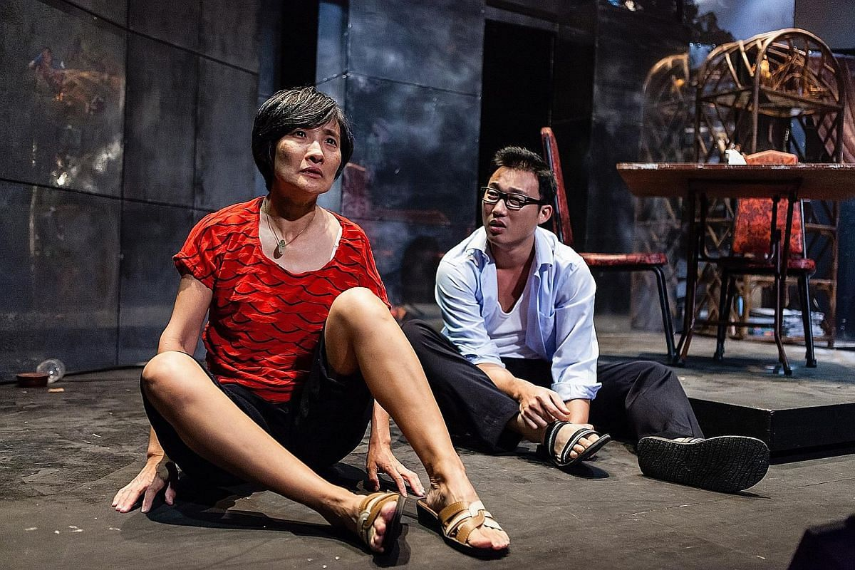 The two productions of Boom starred actress Fanny Kee - first in 2008 (below, with co-star Sebastian Tan) and in 2012 (above, with Andrew Lua). Playwright Jean Tan (right).