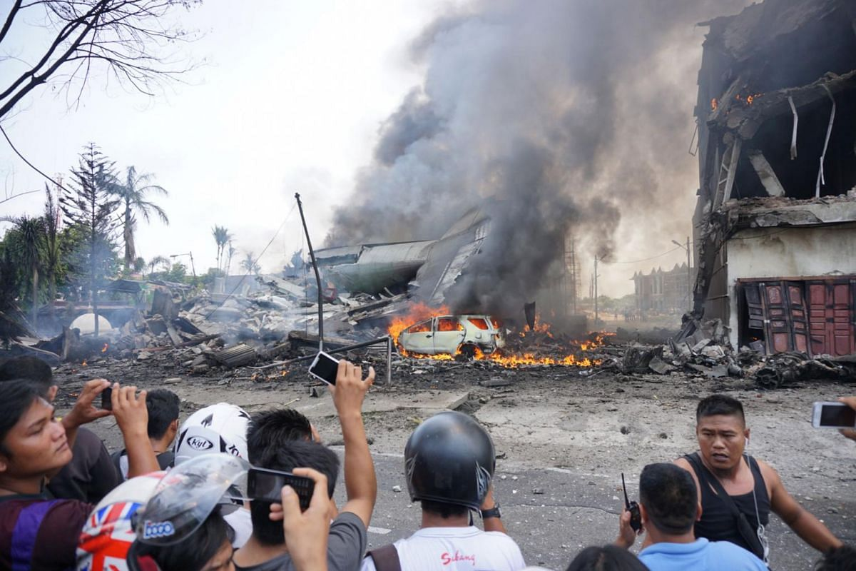 An Indonesian military transport plane crashed on June 30, 2015, shortly after taking off and exploded in a ball of flames in a residential area in Medan.