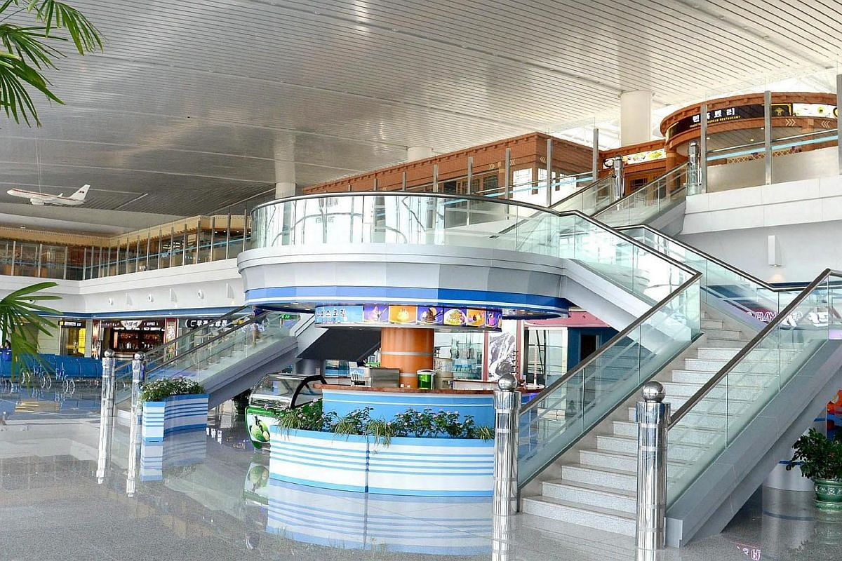 This photo released by North Korea's official news agency KCNA shows the interior of the newly built terminal of Pyongyang International Airport.