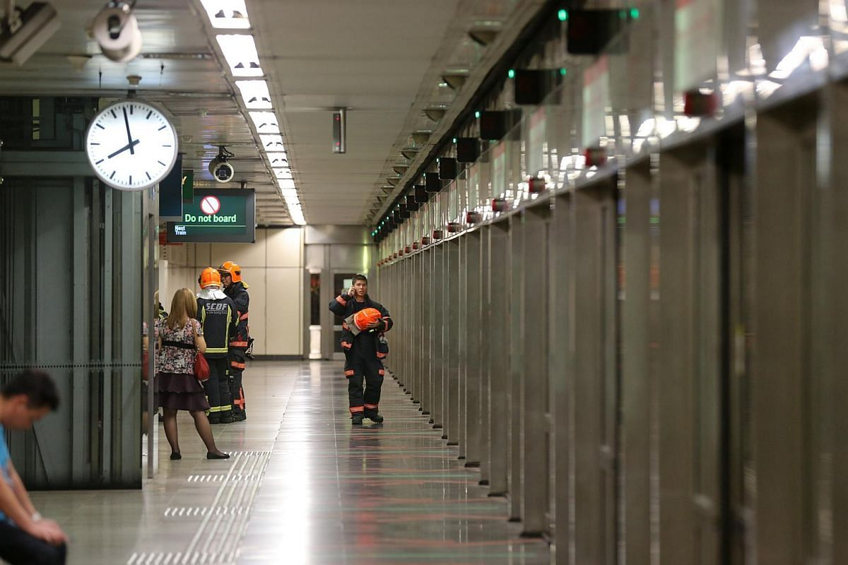 SCDF personnel were seen examining the train doors at Braddell MRT station.