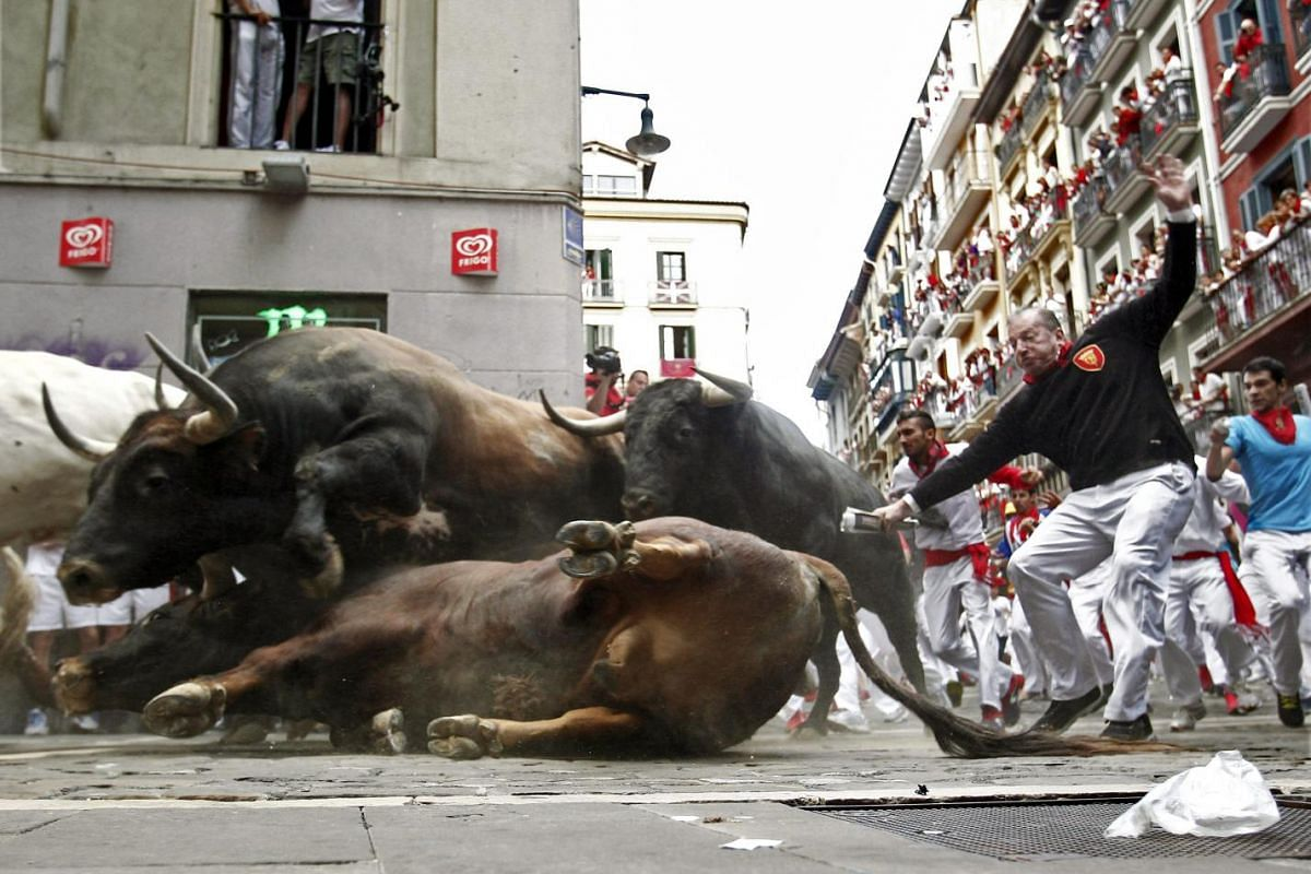 A bull from El Tajo y la Reina ranch slips during the second bull run of the Fiesta de San Fermin in Pamplona, Spain, July 8, 2015. The festival, locally known as Sanfermines, is held annually in commemoration of the city's patron saint.