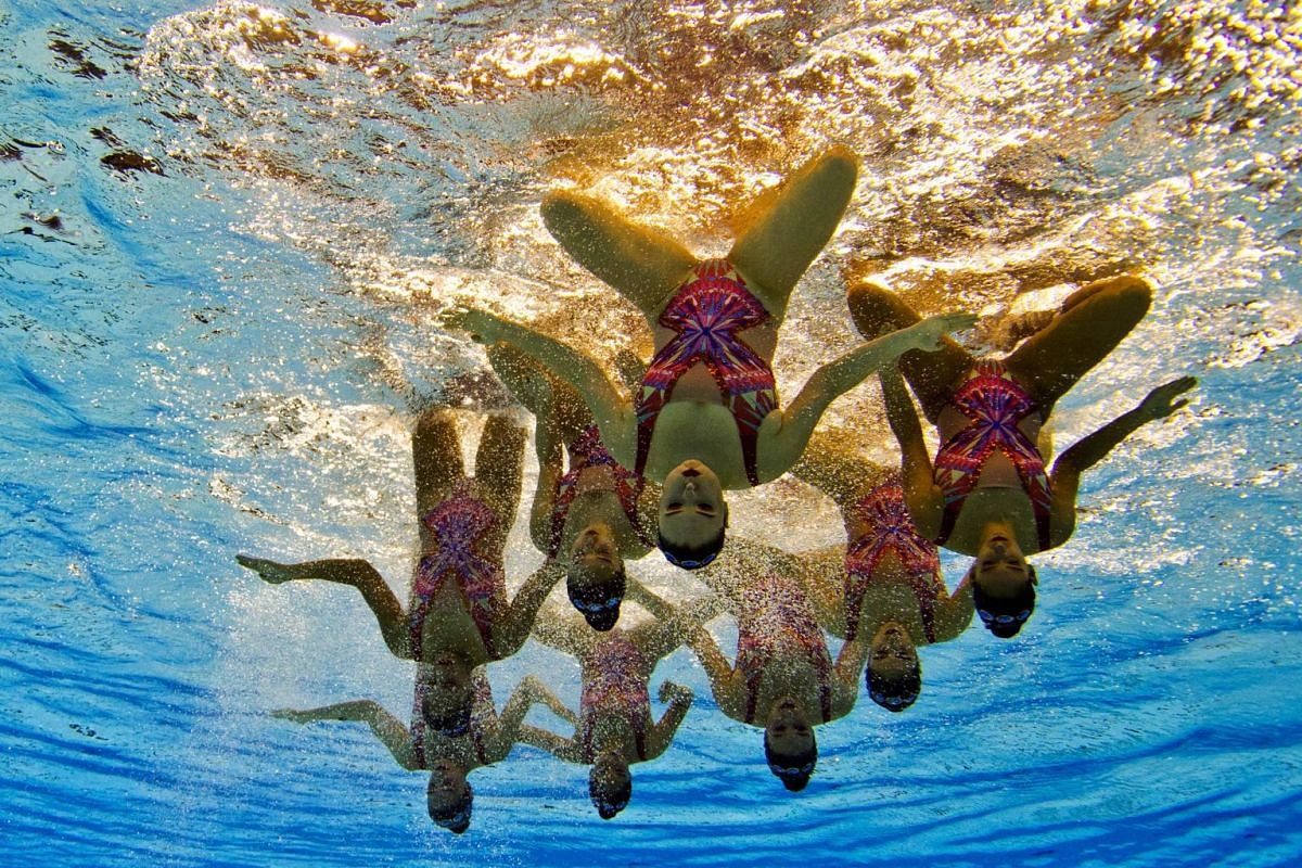 The Peru Synchronized Swimmers compete during the Team Technical Routine at the 2015 Pan American Games in Toronto, Ontario on July 9, 2015.