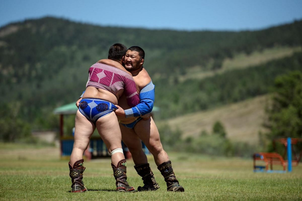 """Mongolian wrestler Khadbaatar Munkhbaatar (right), 35 and a """"National Lion"""" since 2007, taking part in a wrestling training session at a camp, west of Ulan Bator, ahead of the National Naadam Festival."""