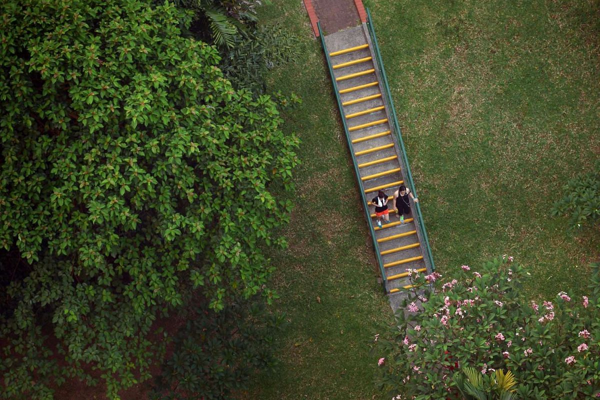 Two joggers make their way down a staircase at the Pearl's Hill City Park.