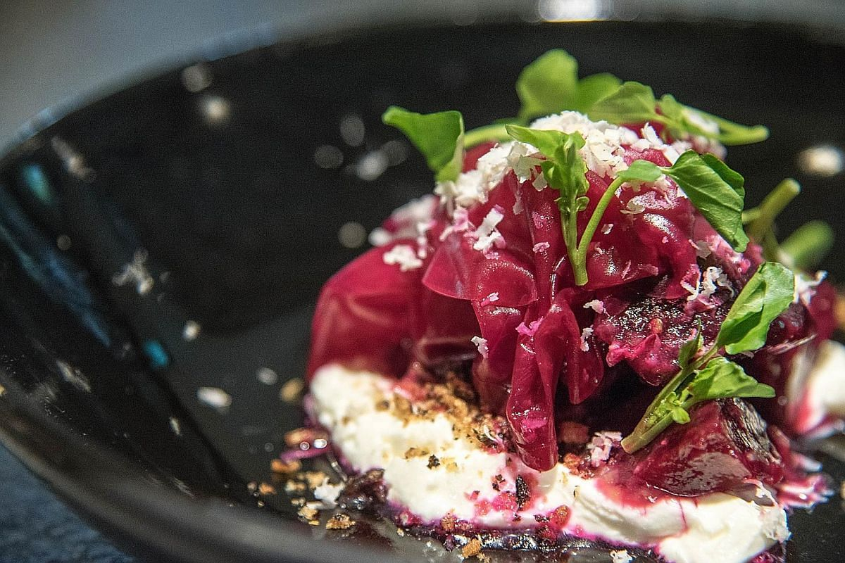 Delicious dishes at Maca include (clockwise from above) the 12-Hour Slow Cooked Iberico Pork Collar, Salt Baked Beetroot and Blackberry dessert.