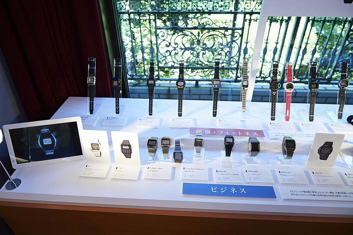The Casio BP-100 (top) can measure blood pressure while the touch panel of the Janus Read Sensor (above) lets you add, subtract, multiply, divide, among other maths functions. A range of Casio watches on display at the Toshio Kashio Memorial Museum o