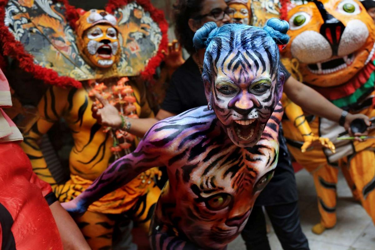 Indian dancers paint their body like tigers as they perform a Tiger dance during the International day of the Tiger in Calcutta, India, July 29, 2015.