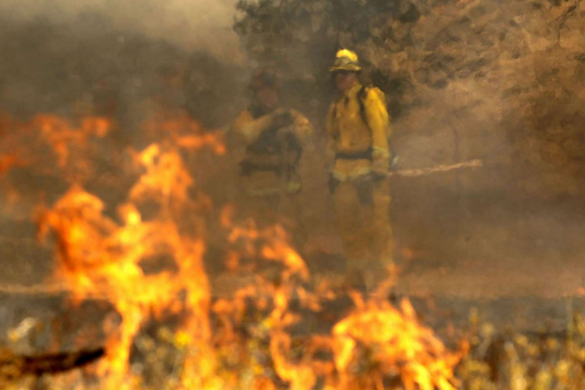 Firefighters monitor a back fire while battling the Rocky Fire on July 30, 2015 in Lower Lake, California.