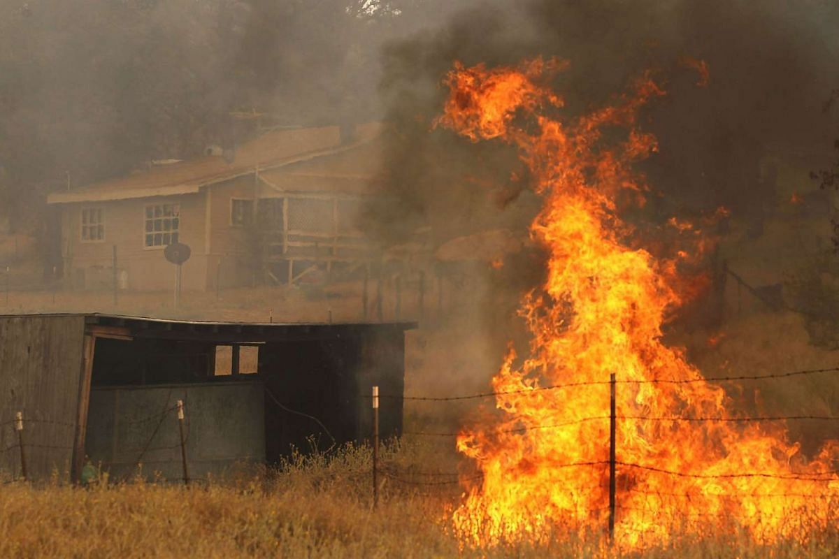 Flames from a spot fire approach a home while firefighters battle the Rocky Fire on July 30, 2015 in Lower Lake, California.