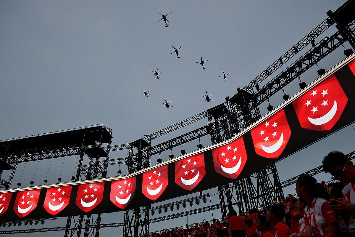Spectators crane their necks to catch the full effect of the flypast.