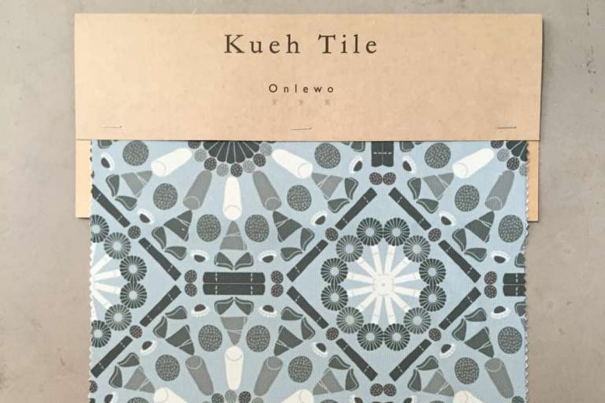 Mr Tay's Kueh Tile fabric swatch.