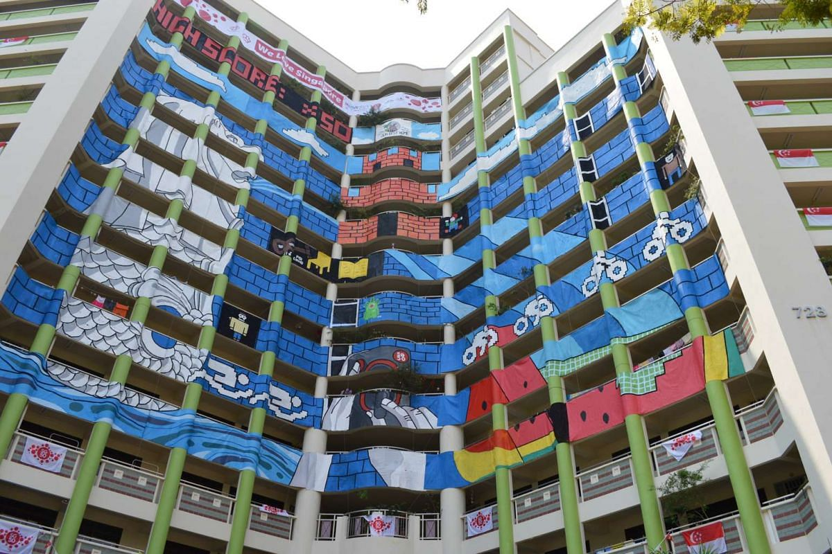 AMAZEing Life, depicting the journey of life, is sprawled on Block 370, Tampines Ave 7; daily life scenes feature in Sunsets In Singapore at Block 45, Bendemeer Rd (above); while Tampines icons inspired Game-On, seen at Block 728, Tampines Ave 5.