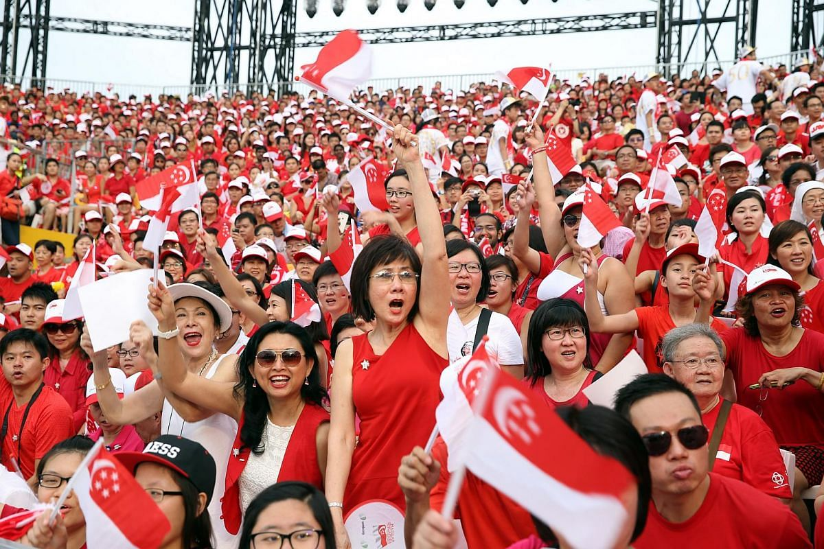 Happy spectators at this year's National Day Parade.