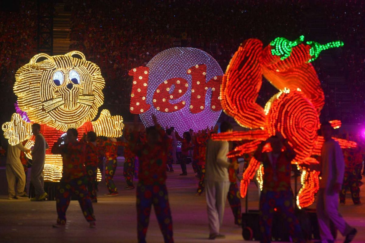 These dozen brightly-lit floats featured in a lively dance number.