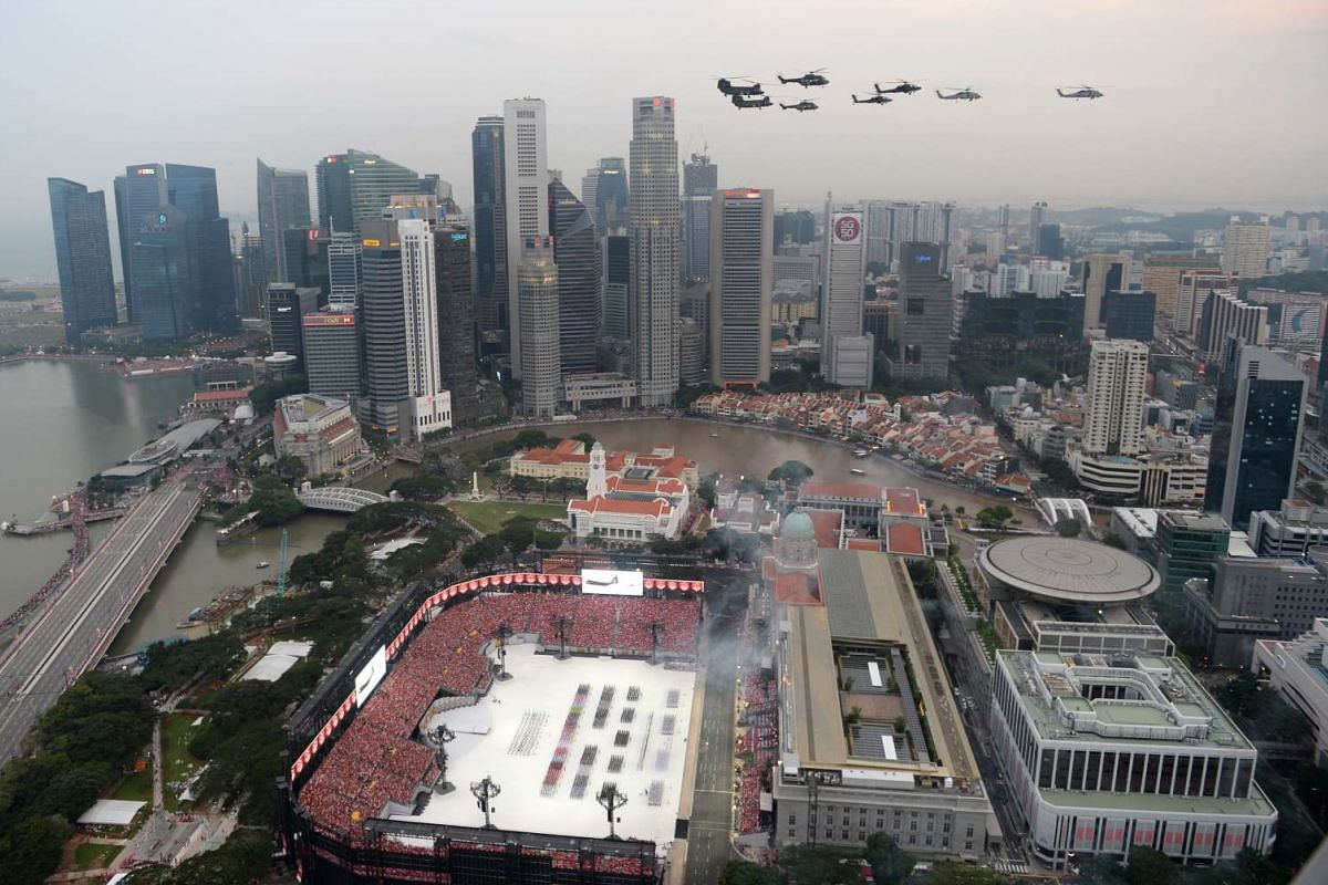 Part of the National Day fly-past.