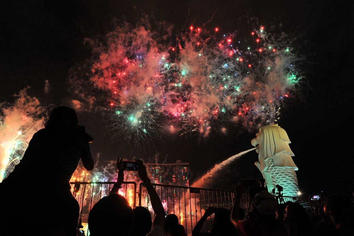 Fireworks displays lit up the night sky in this year's parade.