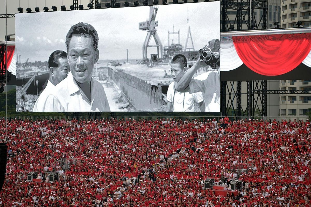 Silence fell over the venue as a video tribute to founding Prime Minister Lee Kuan Yew was played.