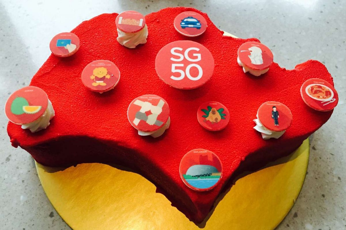 Eat a slice of home with this red velvet cake in the shape of Singapore.