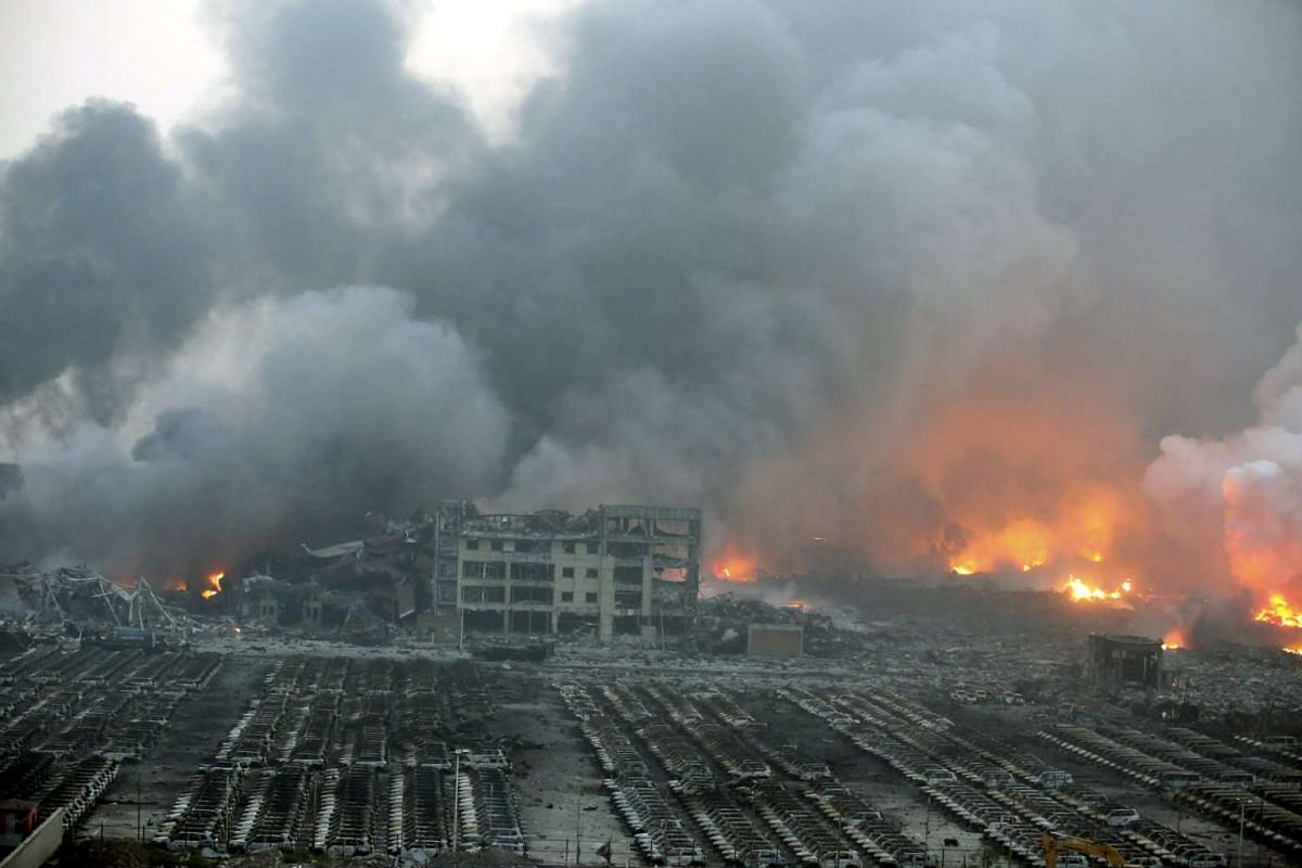 A general view of the destruction after explosions in the port area of Tianjin, northern China on Aug 13, 2015