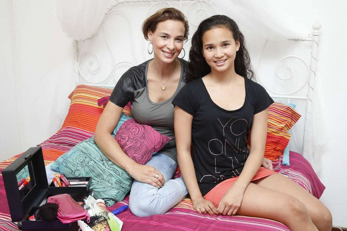 Iman Fandi Ahmad, 15, a familiar face at fashion events, with her mother, model Wendy Jacobs.