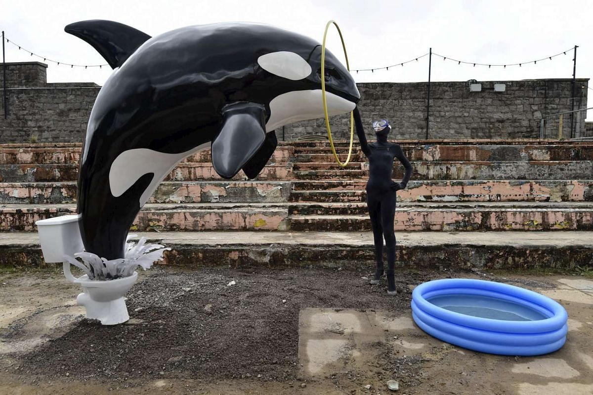 One of the installations at Dismaland.