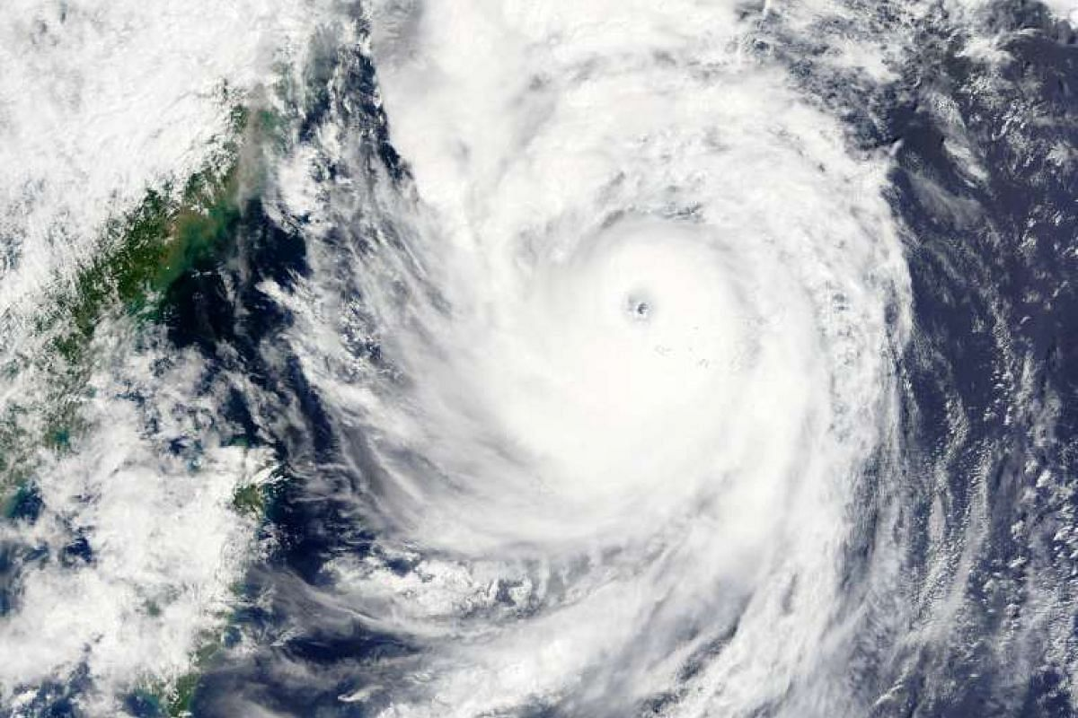 A NASA satellite image shows Typhoon Goni in the East China Sea on Aug 24, 2015.