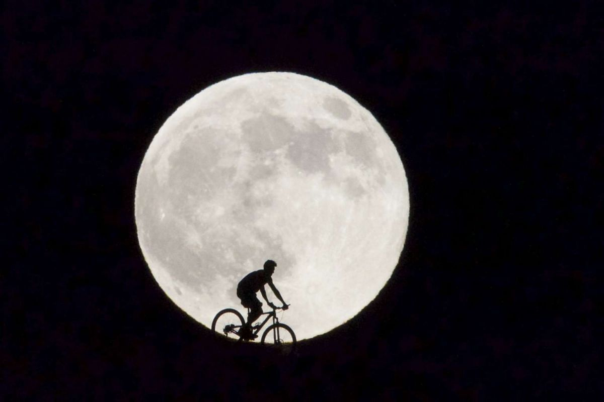 A cyclist passing before the supermoon in Fuerteventura, Canary Islands, Spain, on Aug 29, 2015. The supermoon marks the point at which the Moon and the Earth are the closest to each other during the whole year.
