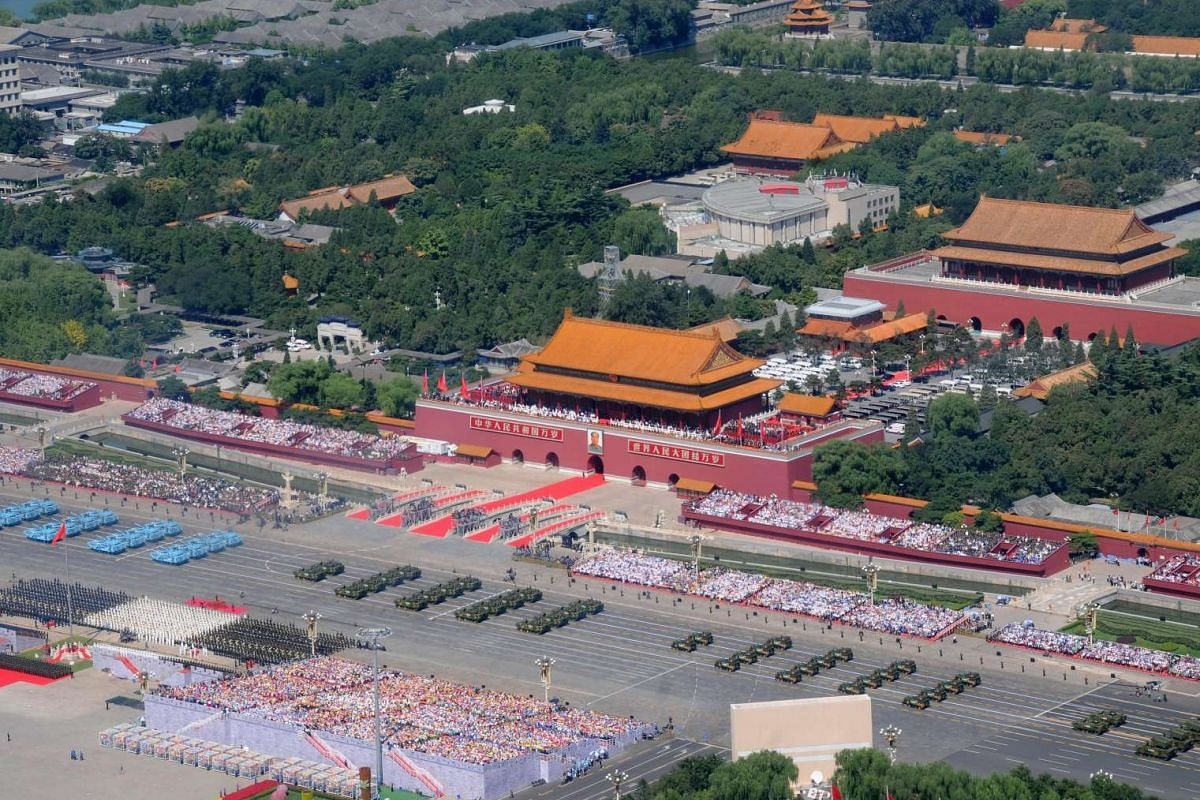 An aerial view of Tiananmen Square showing the military parade marking the 70th anniversary of the end of World War II, in Beijing, China, on Sept 3, 2015.