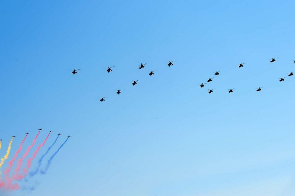 Military aircraft forming the number 70 during the military parade marking the 70th anniversary of the end of World War II, in Beijing, China, on Sept 3, 2015.