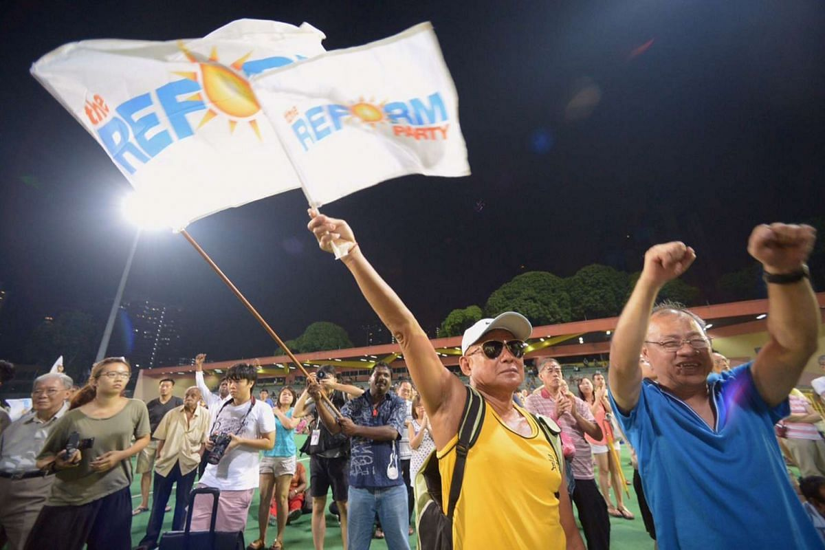 Supporters at the Reform Party's rally at Delta Hockey Pitch.