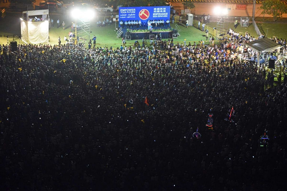 The crowd at the Workers' Party's Punggol East SMC rally at Punggol Field Walk.