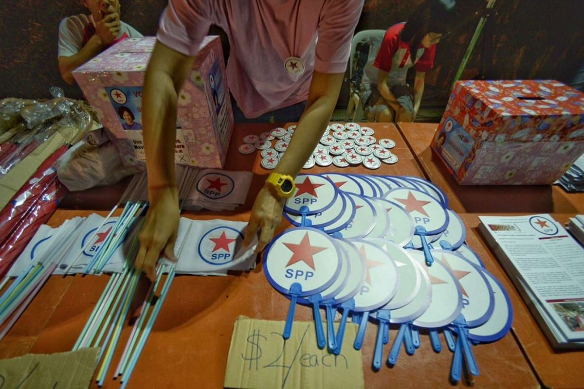 Merchandise for sale at the Singapore People's Party's rally for Hong Kah North SMC.