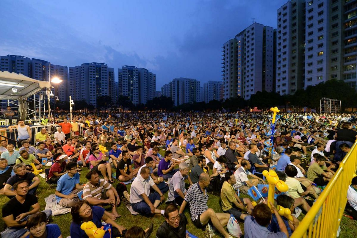 Workers' Party rally for Punggol East SMC, at field in front of blk 128C, Punggol Field Walk, on Sept 5, 2015.