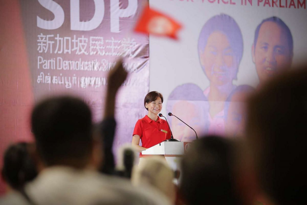 Singapore Democratic Party's (SDP) Jaslyn Go speaking at a rally for the Yuhua SMC electoral division at Jurong East Stadium.