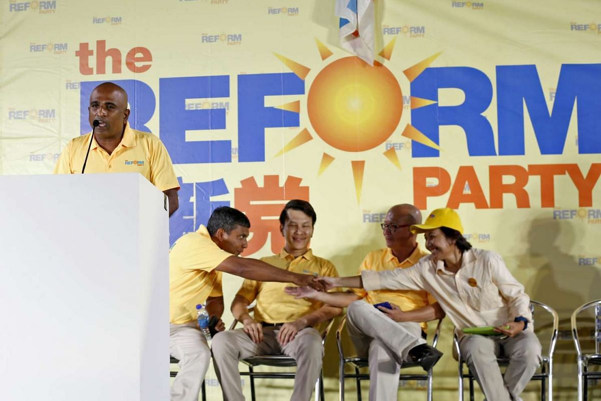 Reform Party candidates at their rally for Ang Mo Kio GRC.