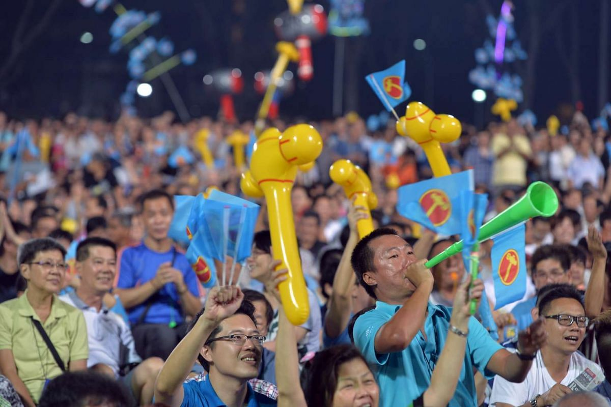 Supporters at the Workers' Party's rally for Nee Soon GRC at Yishun Stadium on Sept 4, 2015.