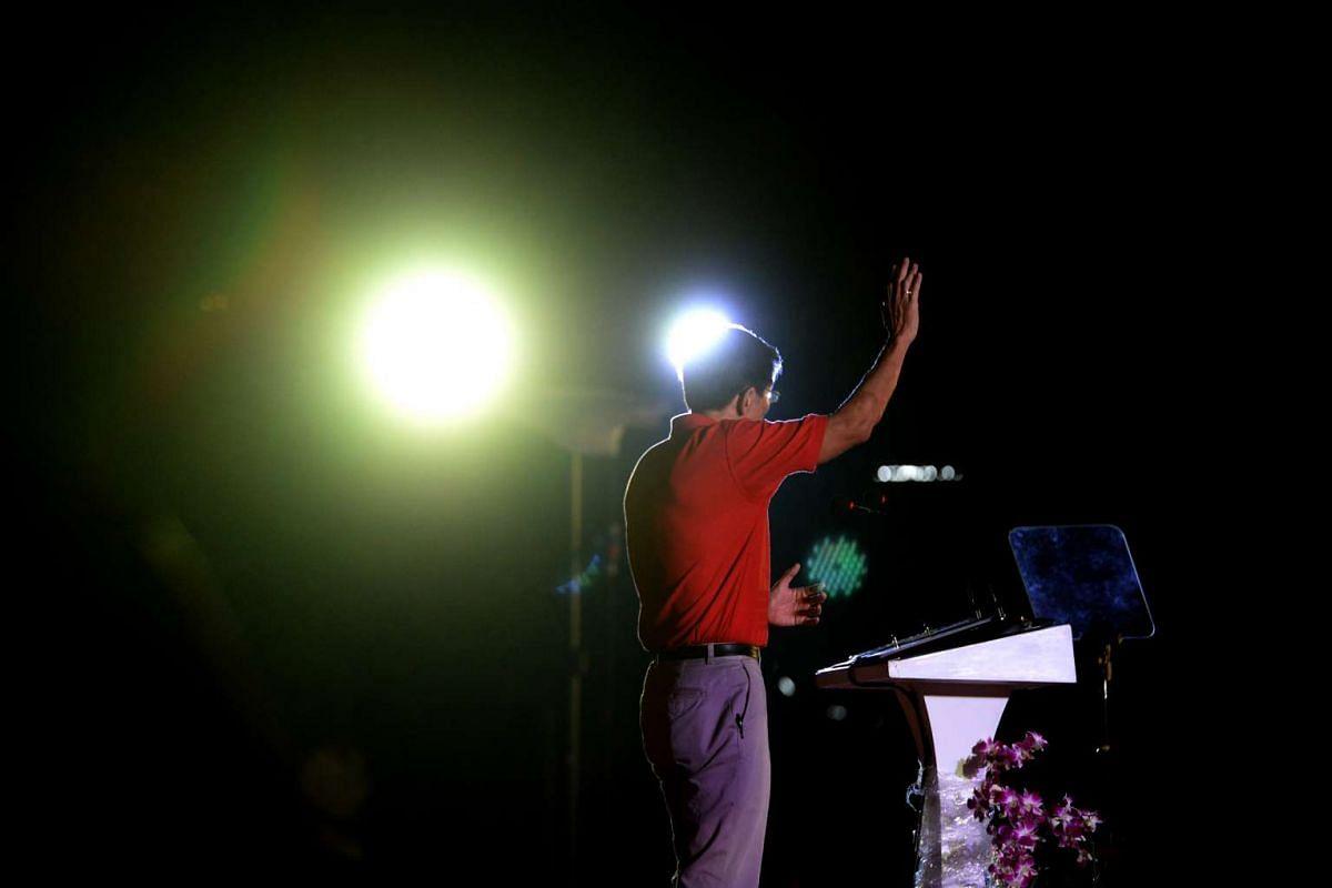 SDP chief Chee Soon Juan speaking during a rally at Petir Road.