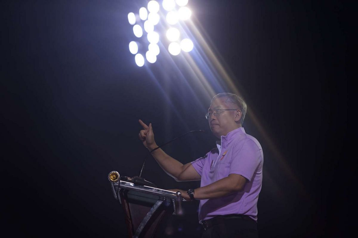 PPP secretary-general Goh Meng Seng speaking at Bukit Gombak Stadium.