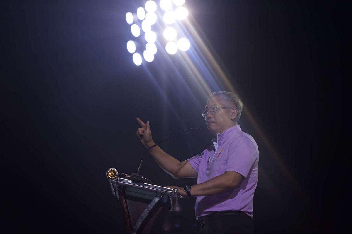 PPP secretary-general Goh Meng Seng speaking at Bukit Gombak Stadium.