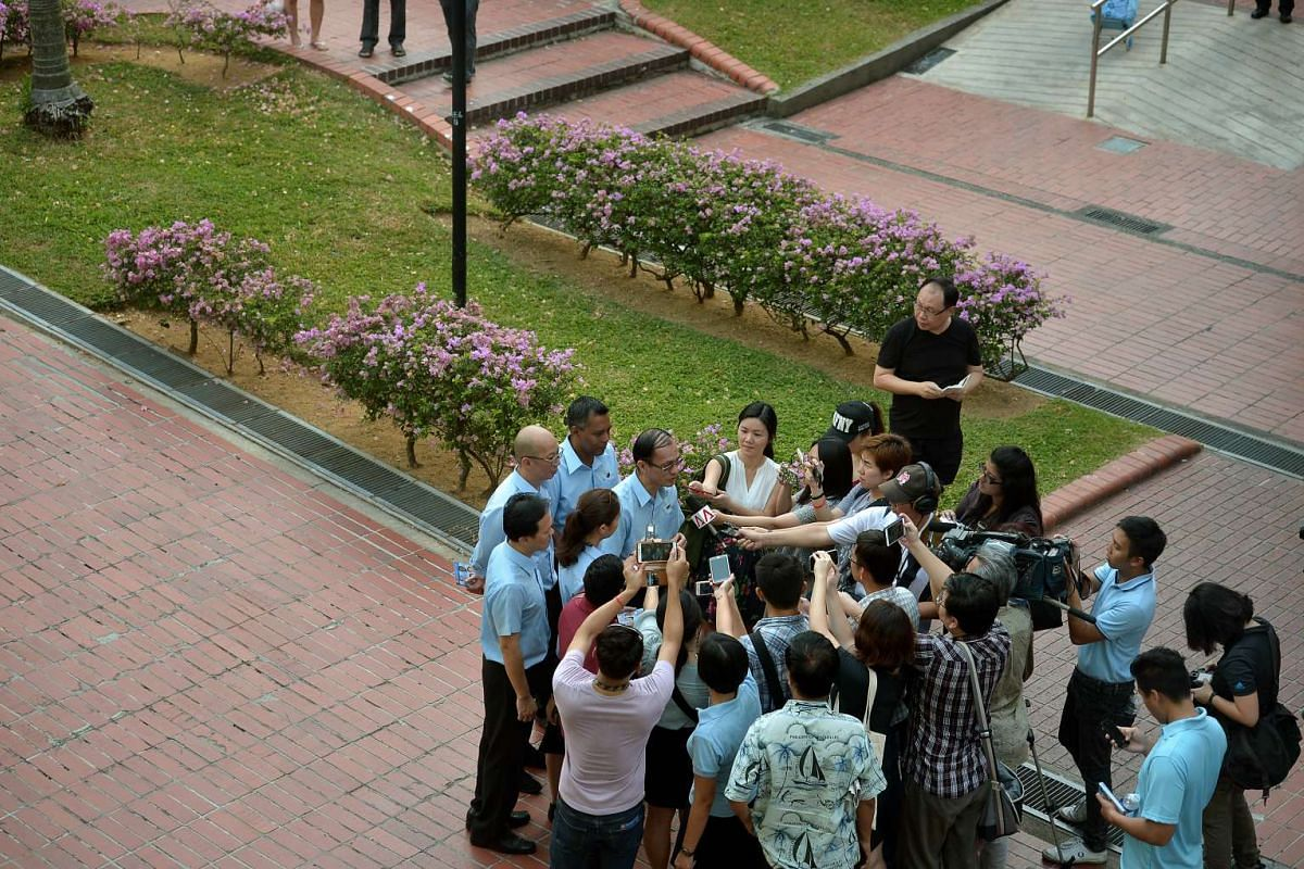 The Worker's Party candidates for Marine Parade GRC speaking to reporters at Serangoon Ave 3.