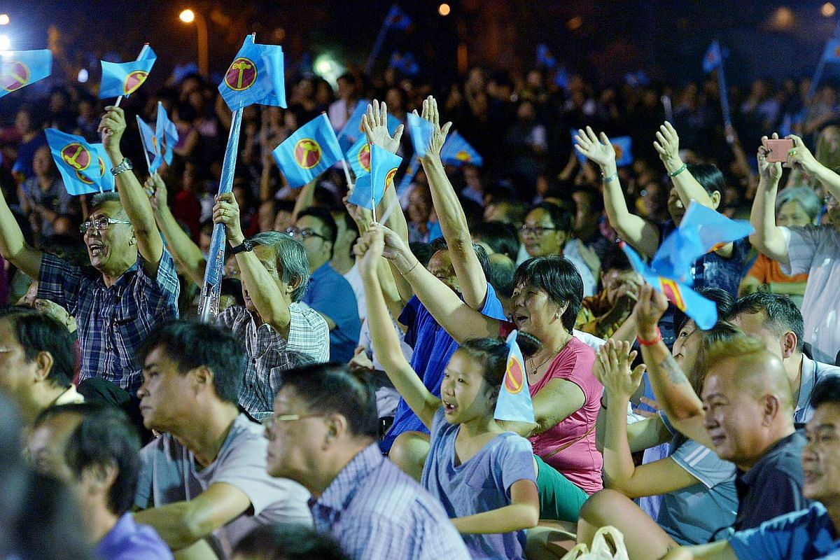 The Workers' Party rally for Marine Parade GRC at the field opposite Block 344 in Ubi Avenue 1 on Sept 7, 2015.