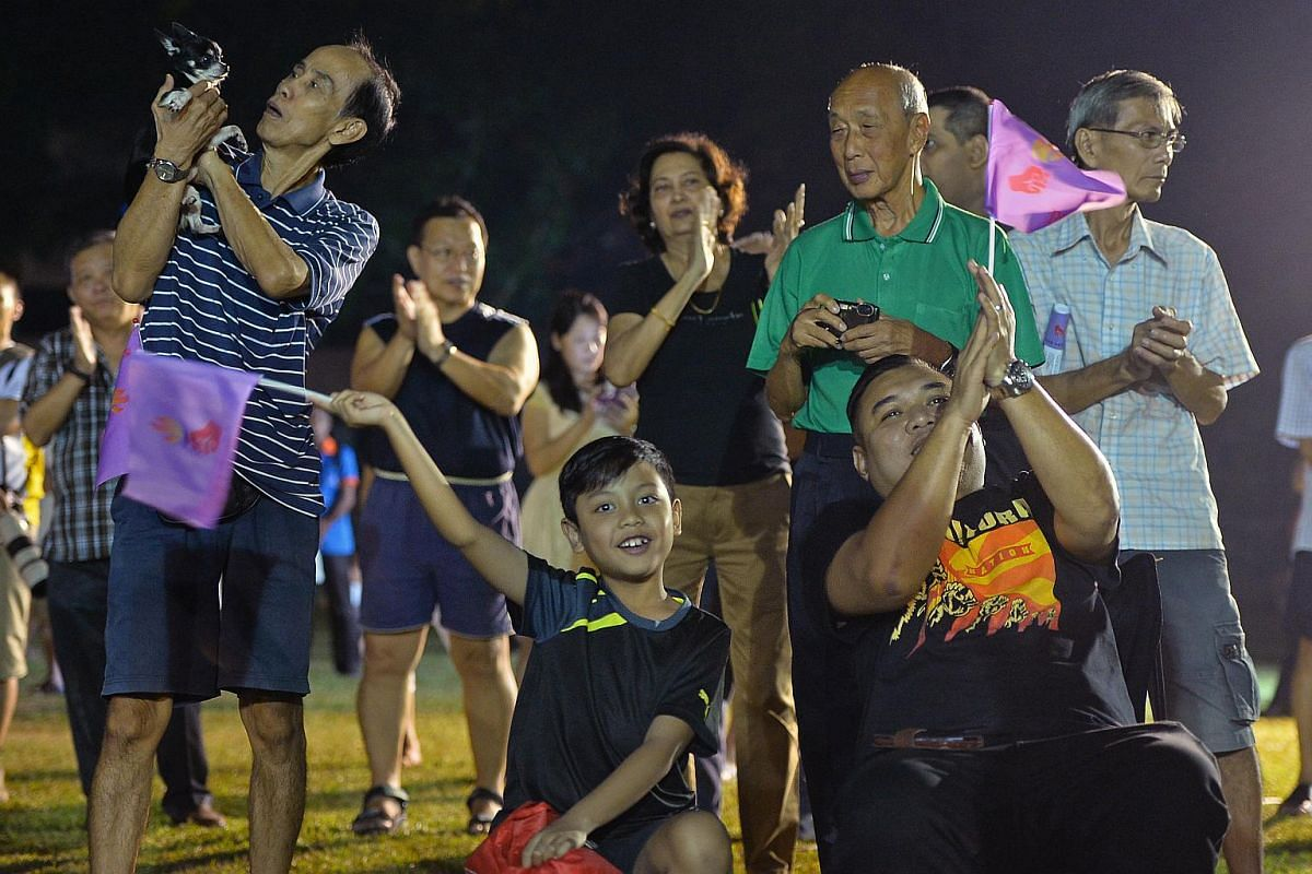Residents in the crowd at the People's Power Party (PPP) rally at Choa Chu Kang Secondary school.