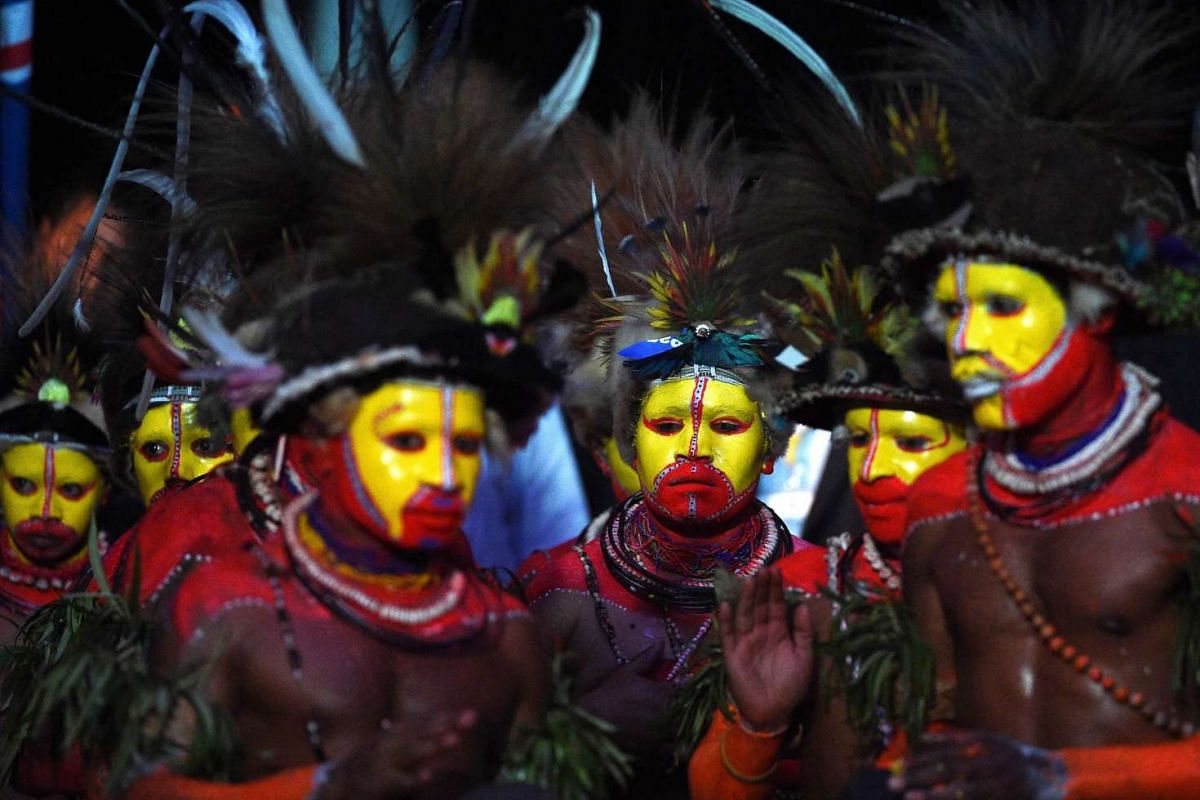 Traditional dancers performing for the official opening of the Pacific Islands Forum in Port Moresby, Papua New Guinea, on Sept 8, 2015. PHOTO: EPA / MICK TSIKAS