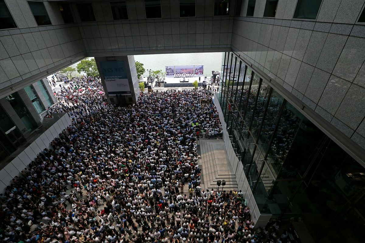 PAP rally at the Promenade area beside UOB Plaza on Sept 8, 2015.