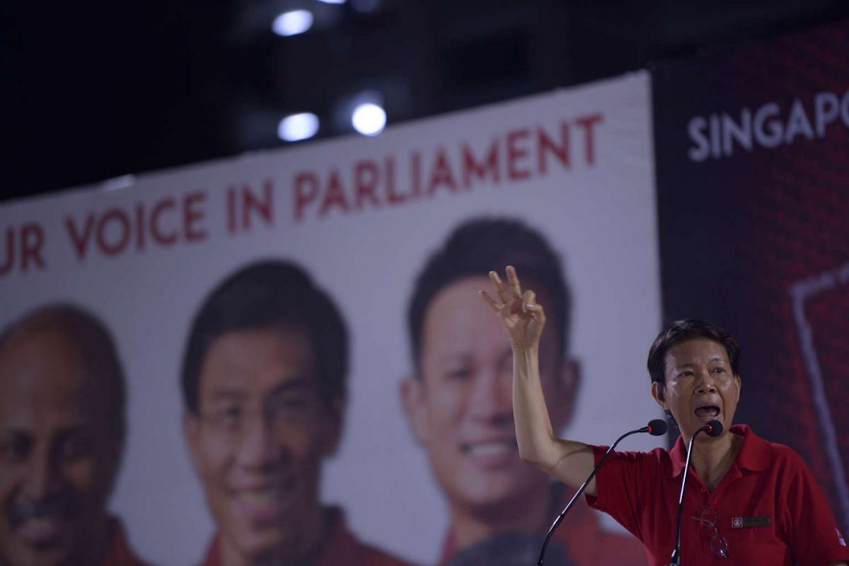 Dr Wong Souk Yee from the Singapore Democratic Party (SDP) speaking at the party's rally at Woodlands Stadium.