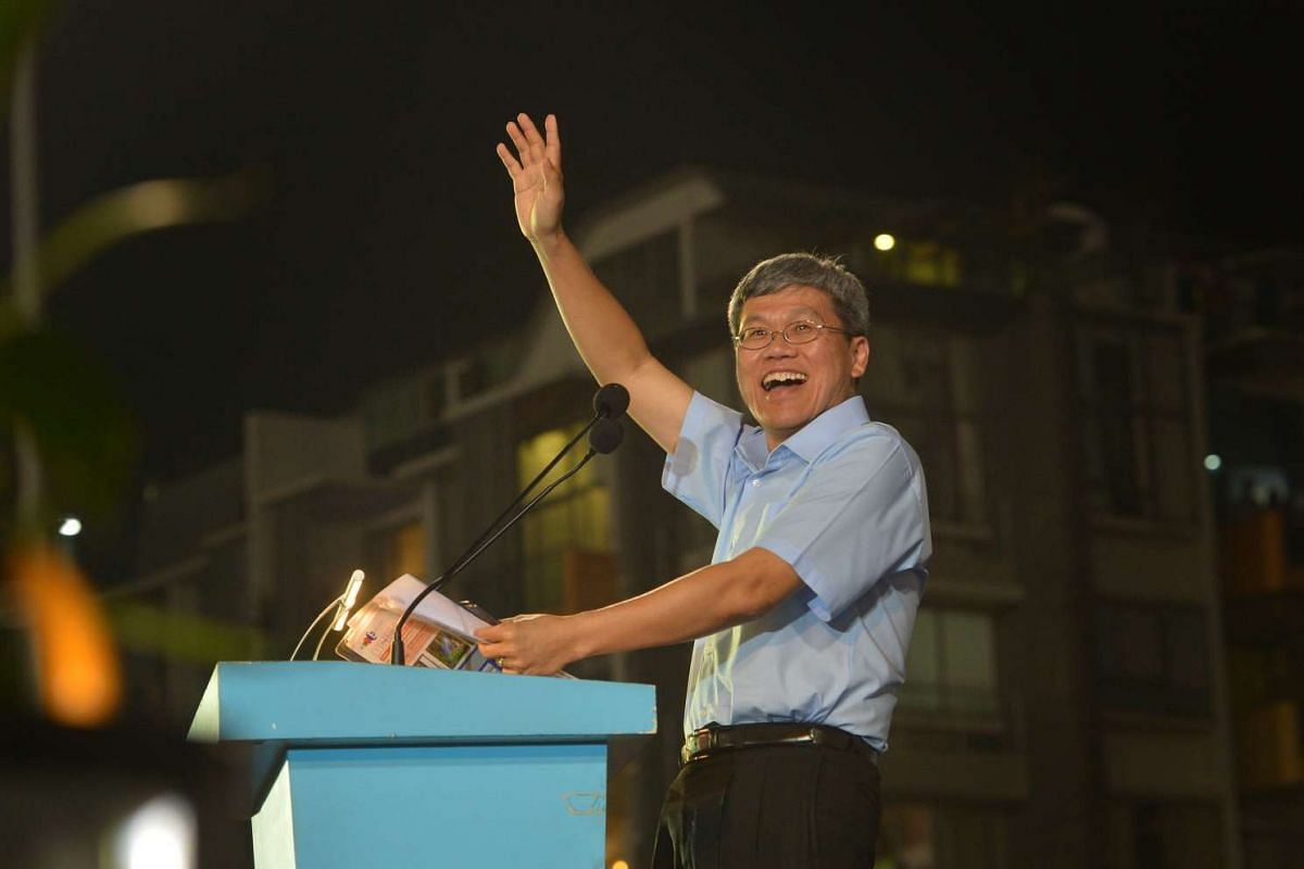 Mr Png Eng Huat speaking at the Workers' Party rally for Aljunied GRC at the Serangoon Stadium on Sept 8, 2015.