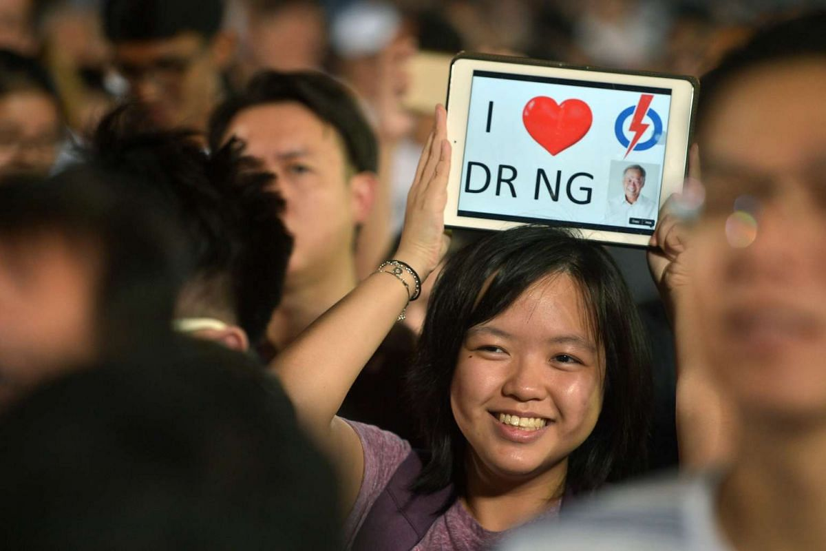 A supporter at the PAP rally (Bishan-Toa Payoh GRC) on Sept 8, 2015 held at the Toa Payoh Stadium.