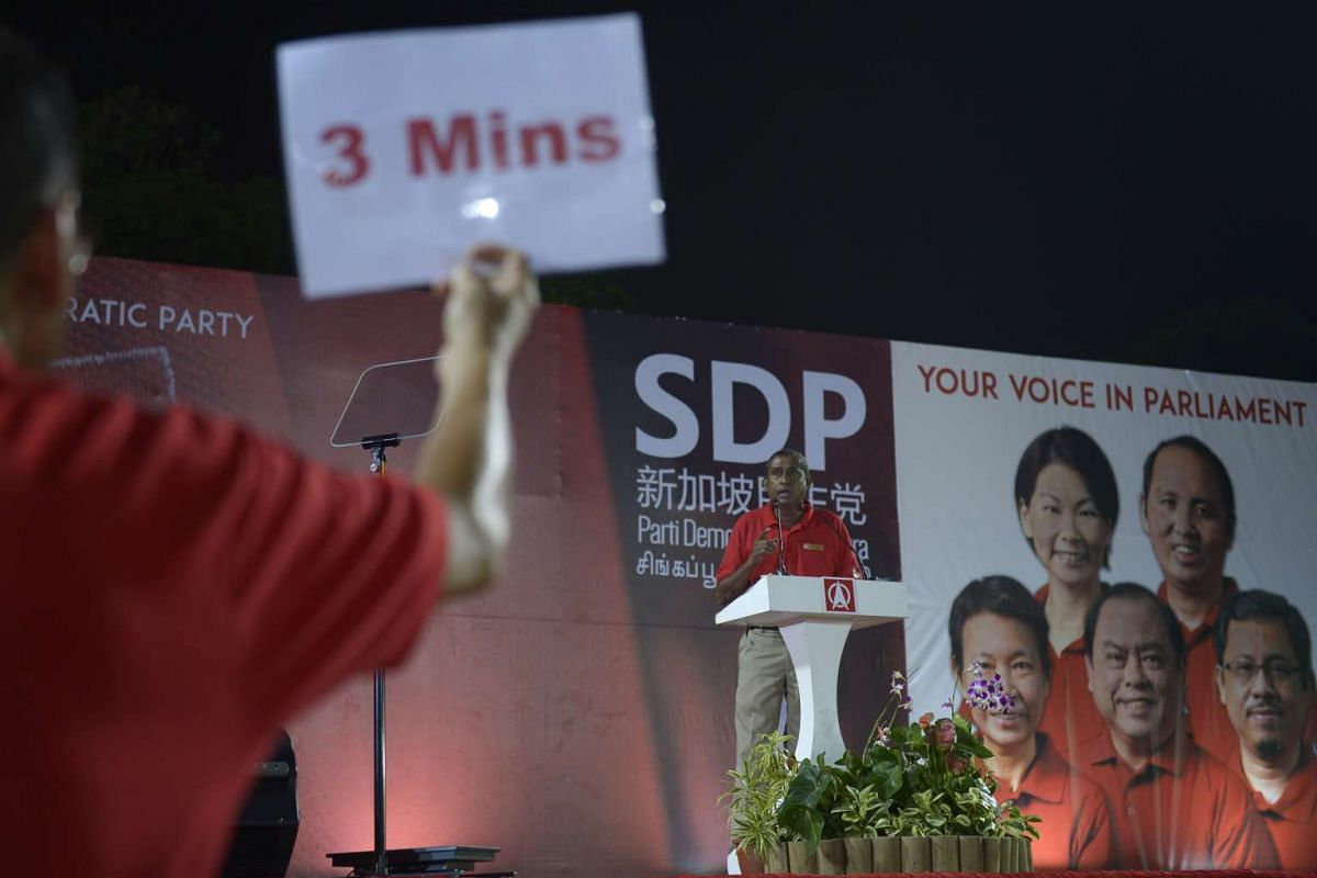 Mr Jeffrey George from the Singapore Democratic Party (SDP) speaking at the party's rally at Woodlands Stadium.