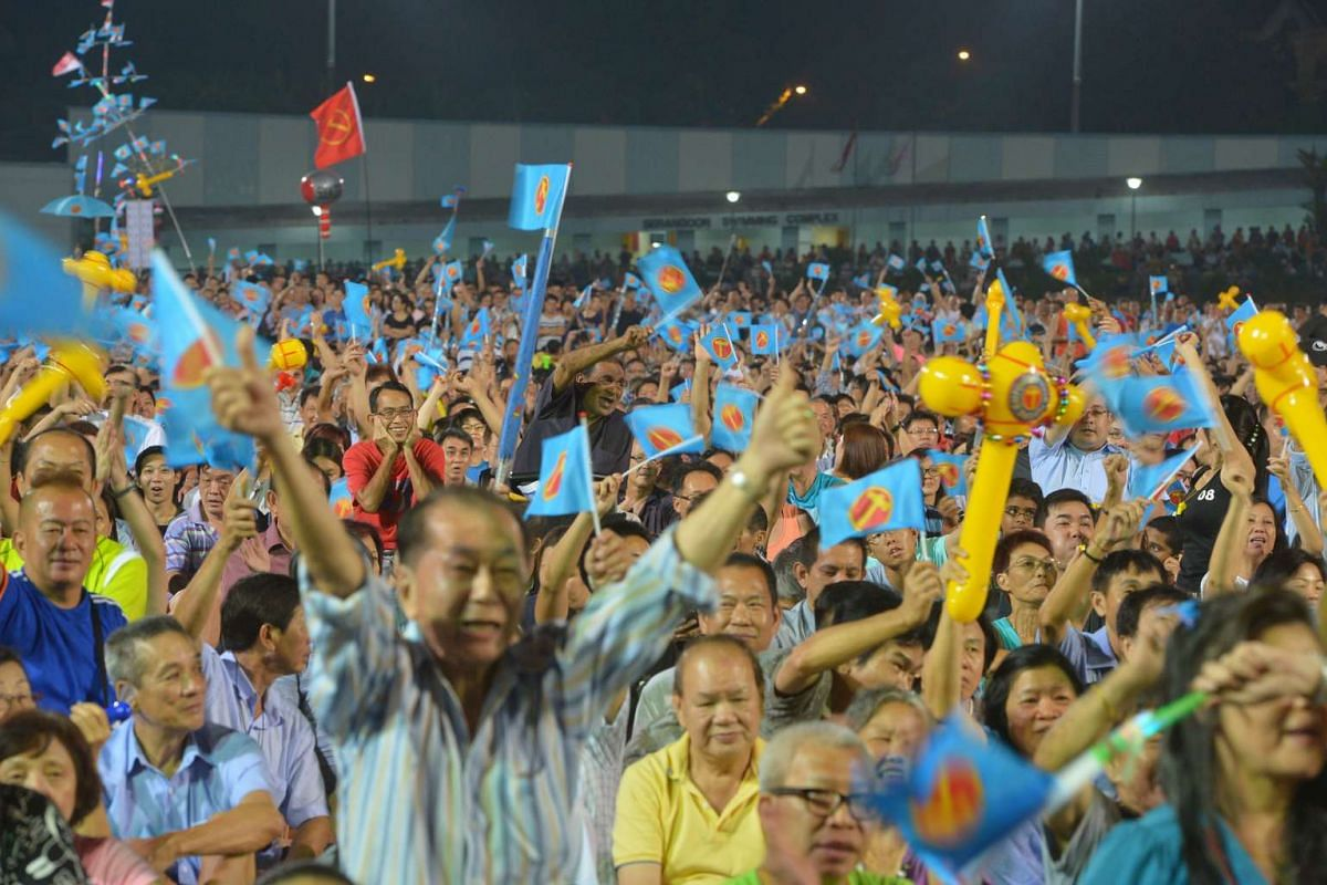 Supporters at the Workers' Party rally for Aljunied GRC at the Serangoon Stadium on Sept 8, 2015.